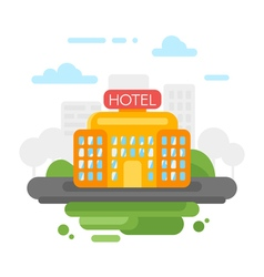 flat style of hotel vector image vector image
