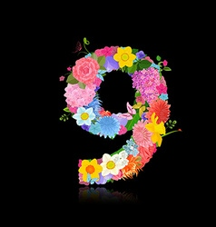 Fun number of fancy flowers on black background 9 vector
