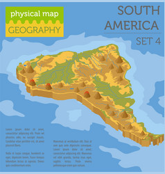 Isometric 3d south america physical map elements vector