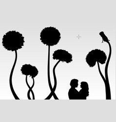 lovers and dandelions vector image vector image