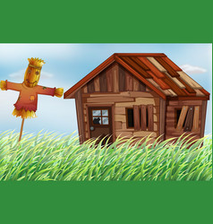 Old wooden house in the field vector