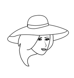 Pretty happy woman wearing big sun hat icon image vector