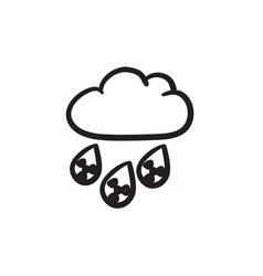 Radioactive cloud and rain sketch icon vector