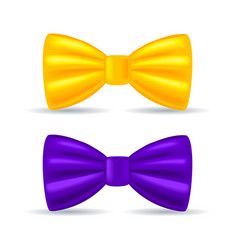 realistic drawing solemn bow tie yellow and vector image vector image