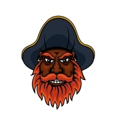 Red bearded cartoon pirate captain vector