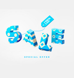 Sale 3d sign blue on white vector