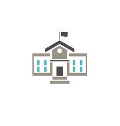 School building icon with color on white vector