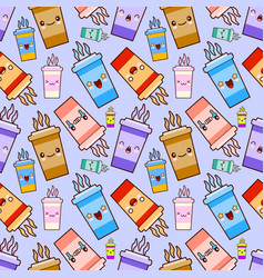 seamless pattern coffee kawaii characters vector image