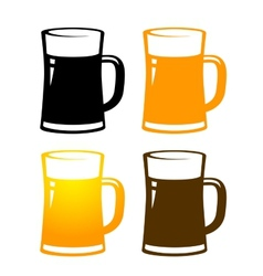 set of colorful beer mugs vector image