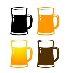 Set of colorful beer mugs vector