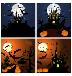 Set of Halloween Greeting Cards vector image vector image