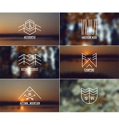 Set of retro vintage badges and blurred background vector
