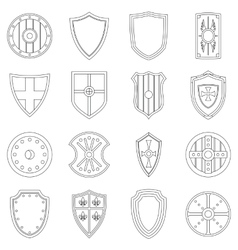 Shield frames icons set outline style vector