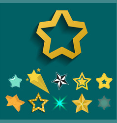 Shiny star icons in different style pointed vector