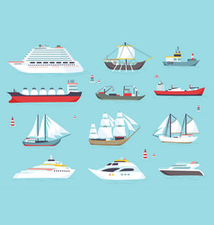 ships at sea shipping boats ocean transport vector image