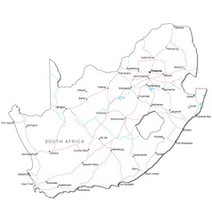 South africa black white map vector