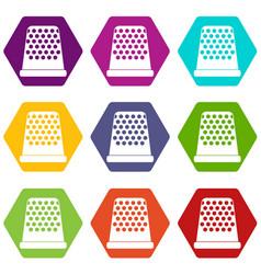 Thimble icon set color hexahedron vector