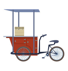 Tricycle trade cart icon cartoon style vector