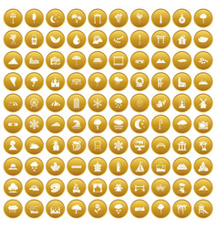100 scenery icons set gold vector