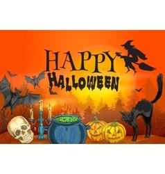 Happy halloween witchcraft and horror scene vector