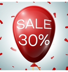 Red baloon with 30 percent discounts sale concept vector