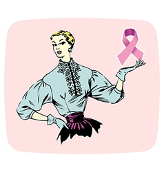 Breast cancer ribbon shown by a woman vector