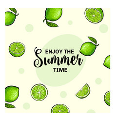 Enjoy the summer time banner postcard design with vector