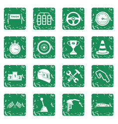 Racing speed icons set grunge vector