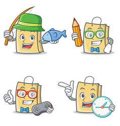 Set of bag character with fishing student gamer vector