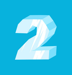 Number 2 ice icicles font two frozen alphabet vector