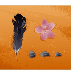 Illustration of objects stones feathers vector