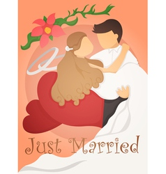 Just married wedding invitation card design vector image