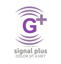 Logo signal letter g plus purple alphabet wireless vector