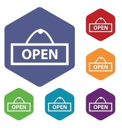 Open icon colored hexagon set vector