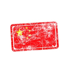 China flag red grunge rubber stamp vector