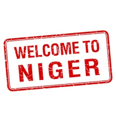 Welcome to niger red grunge square stamp vector