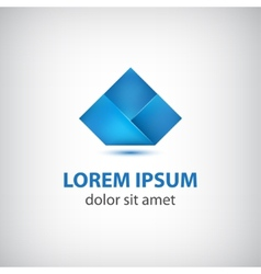 abstract blue origami icon logo isolated vector image