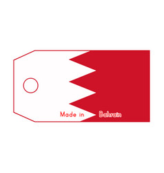 Bahrain flag on price tag with word made in vector