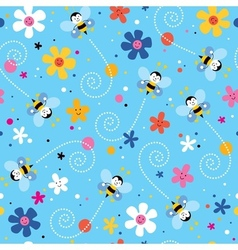 Bees and flowers seamless pattern vector