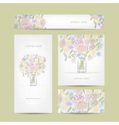 Business cards collection floral bouquet design vector