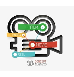 Cinema and movie infographic concept line style vector image vector image