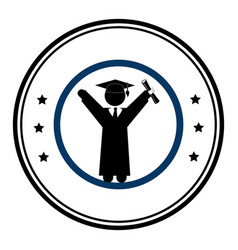 Circular emblem with man with graduation outfit vector