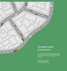 city map with cars aerial top view from vector image