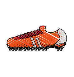 Color crayon stripe cartoon orange soccer shoes vector