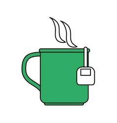 Color silhouette cartoon green mug with bag tea vector