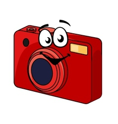Colorful red point and shoot camera vector image