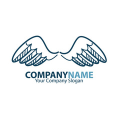 Company name emblem with blue bird wings isolated vector