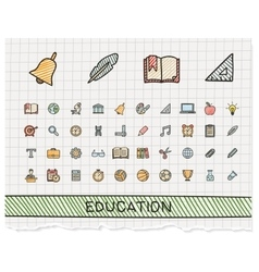 Education hand drawing line icons doodle vector image vector image