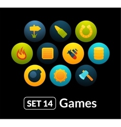 Flat icons set 14 - game collection vector
