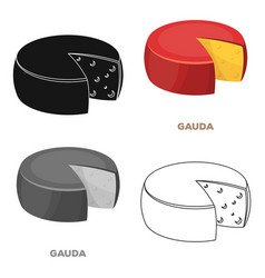 Gaudadifferent kinds of cheese single icon in vector